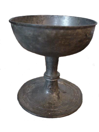 42. English thirteenth century tin alloy ( pewter ) sepulchral monastic chalice