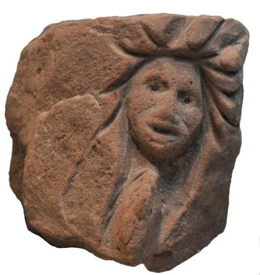 English late medieval ecclesiastical sandstone carving of a cautious man