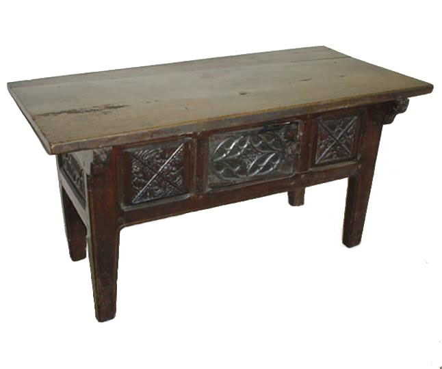 English late fifteenth century linenfold panelled oak table cupboard