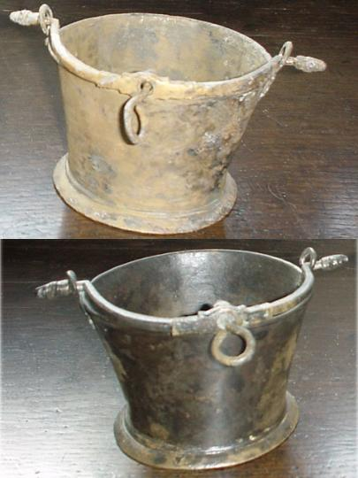 Likely English pair of copper alloy ( bronze ) whale oil cresset lamps from the Punta Cana 1545 shipwreck