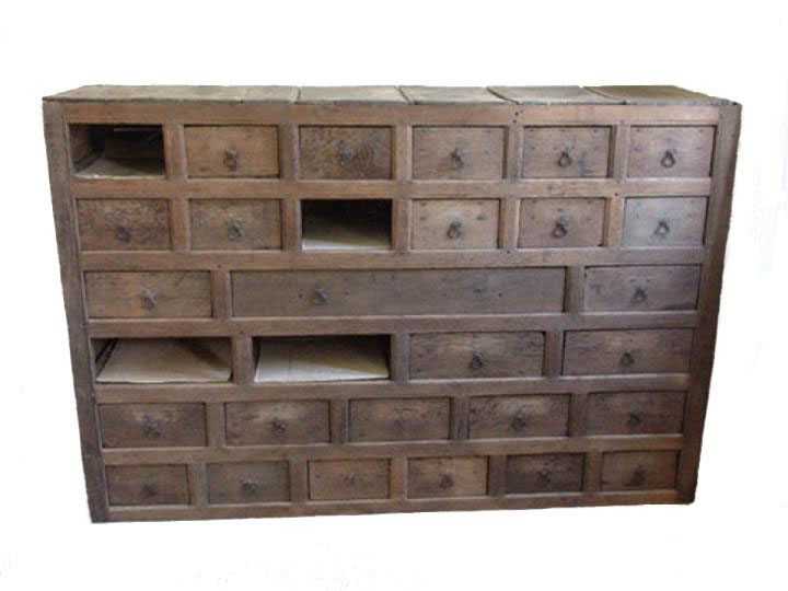English fifteenth century oak multi drawered muniment chest for the storage of manuscripts