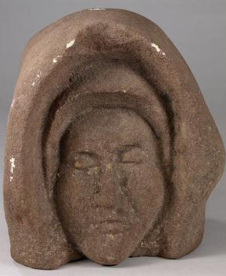 English late medieval monastic sandstone head of a nun