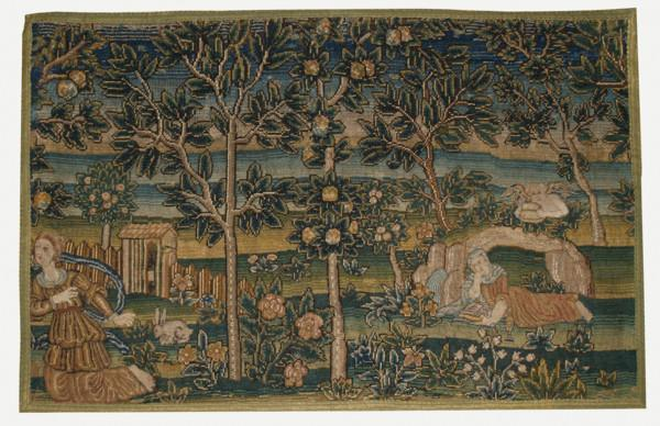 English late sixteenth century Elizabethan needlework of the Annunciation