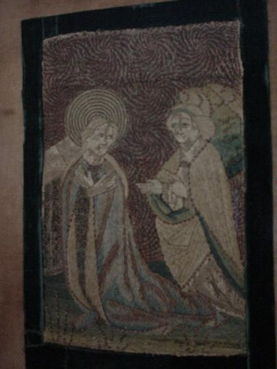 Probably Low Countries medieval needlework of the Angel Gabriel visiting Elizabeth to tell of the birth of John the Baptist