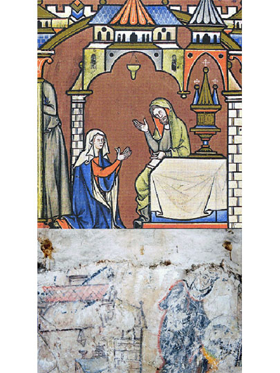 English thirteenth to fifteenth century ceramic cresset from the Maciejowski Bible and a Winchester wall painting - both mid 13th century